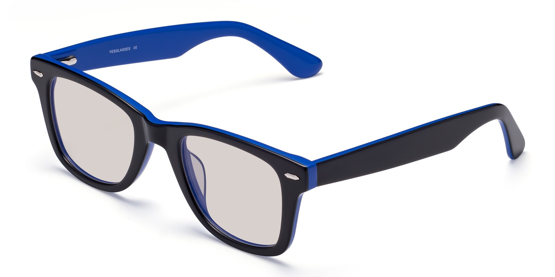 Angle of Rocky in Black-Blue with Light Brown Tinted Lenses