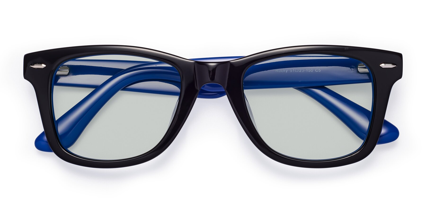 Folded Front of Rocky in Black-Blue with Light Green Tinted Lenses