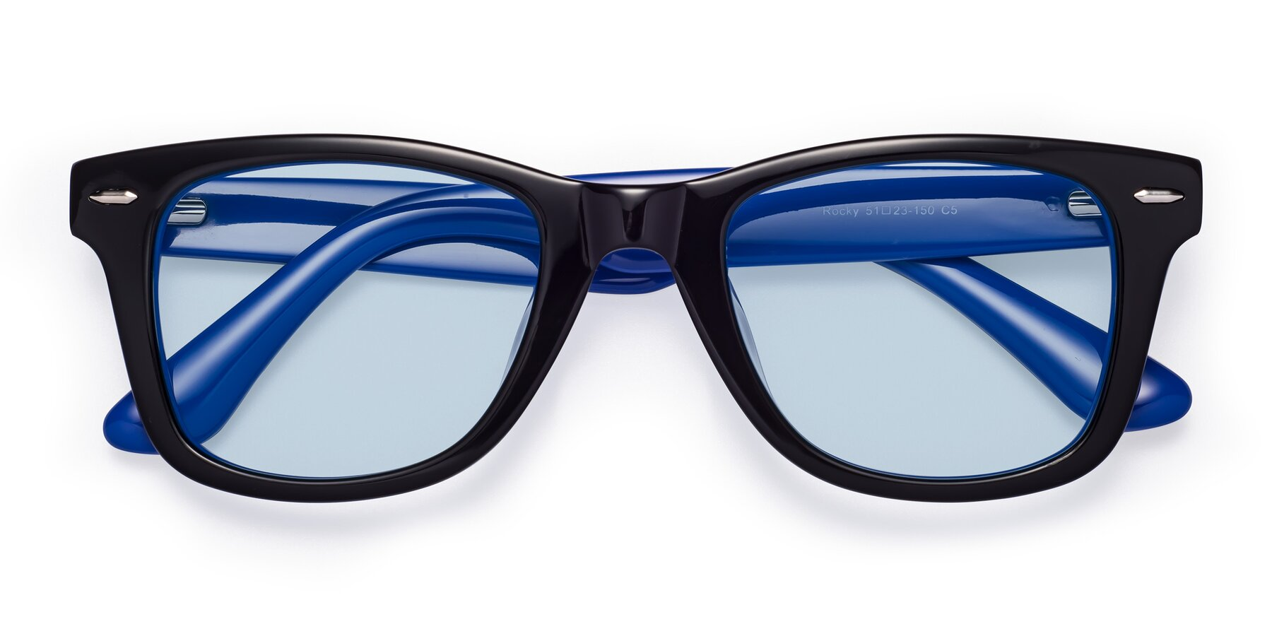 Folded Front of Rocky in Black-Blue with Light Blue Tinted Lenses