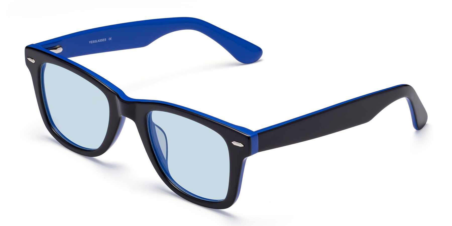 Angle of Rocky in Black-Blue with Light Blue Tinted Lenses