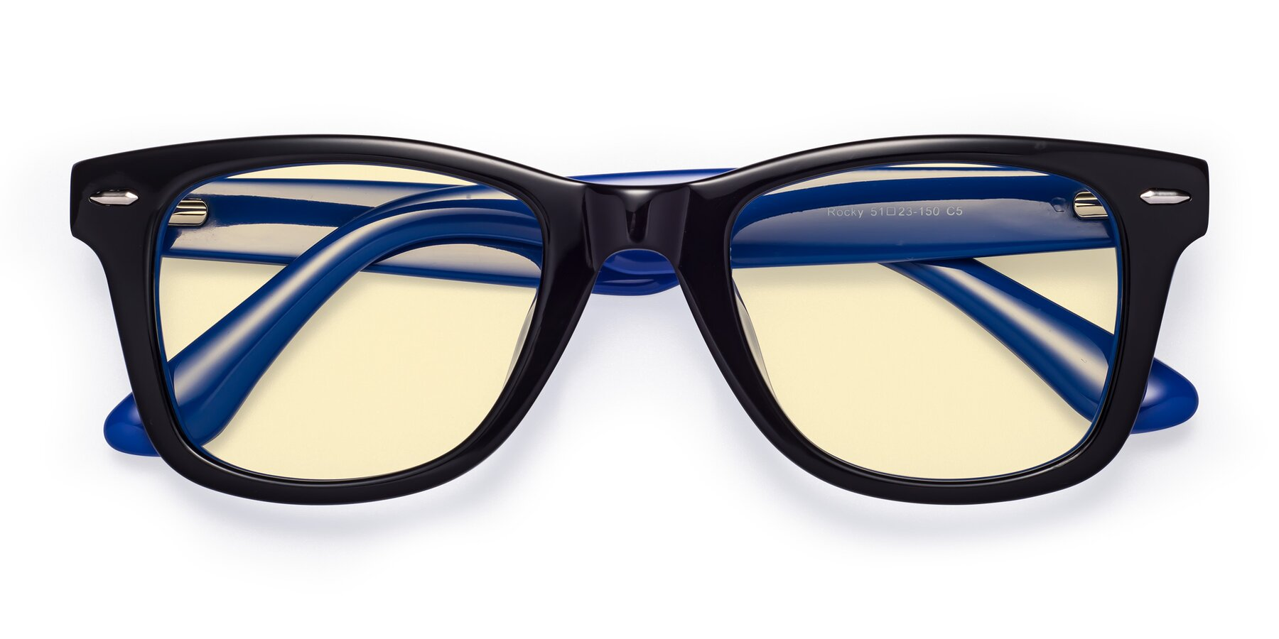 Folded Front of Rocky in Black-Blue with Light Yellow Tinted Lenses