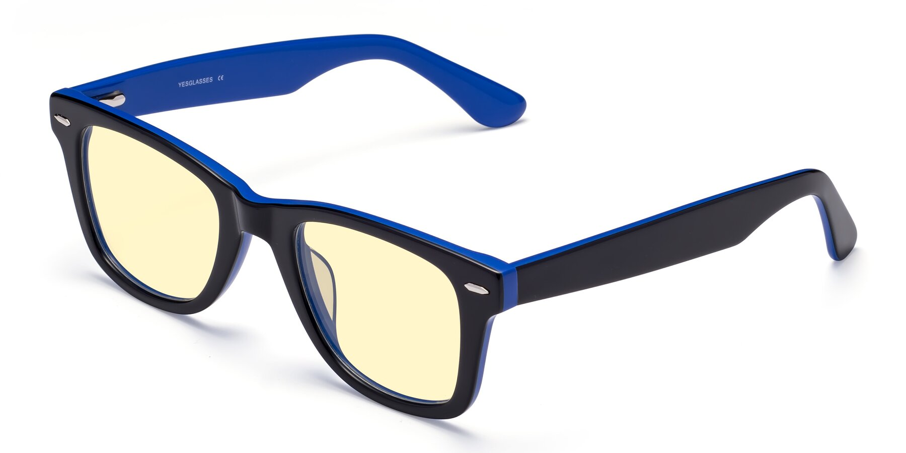 Angle of Rocky in Black-Blue with Light Yellow Tinted Lenses