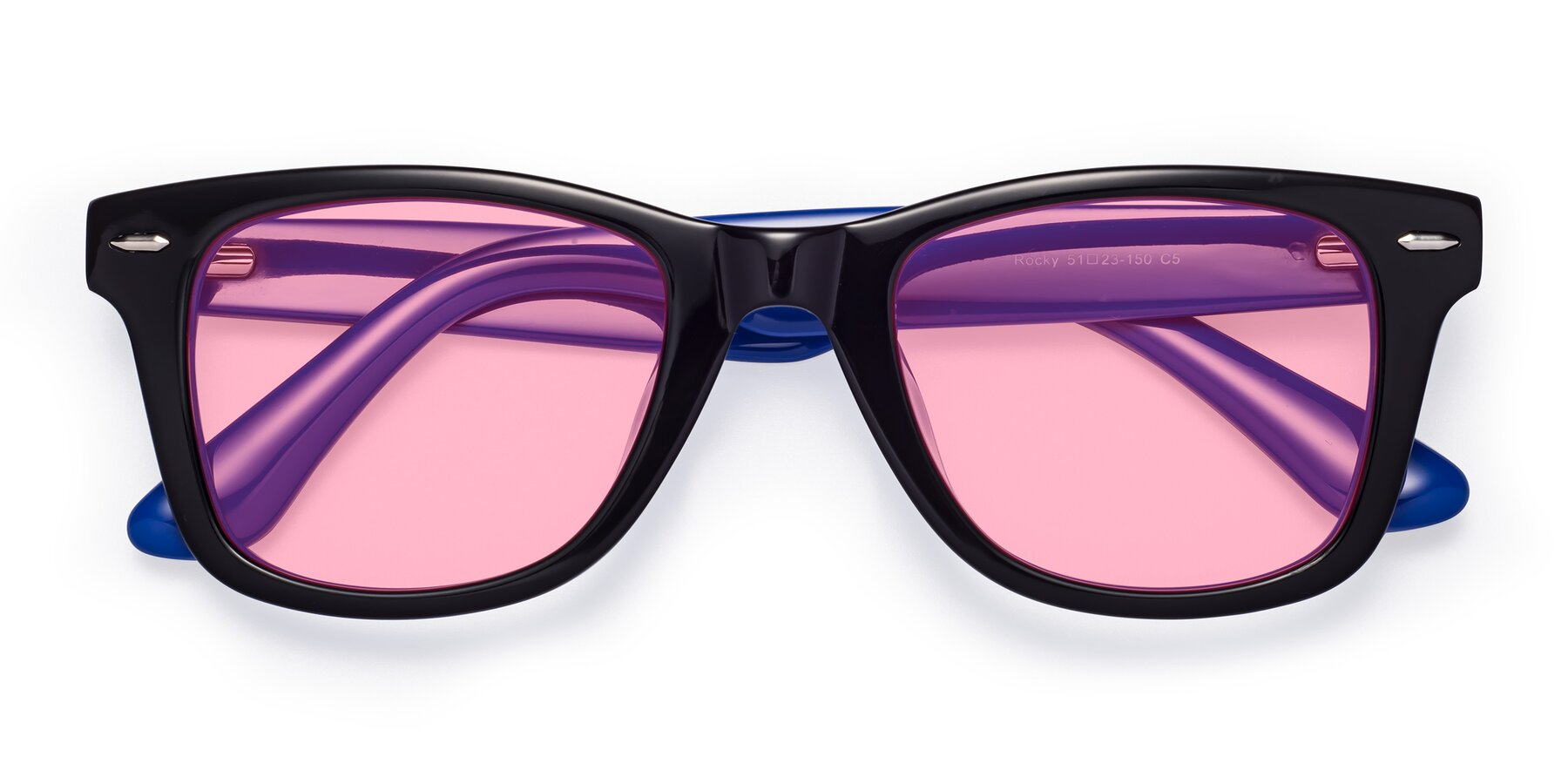 Folded Front of Rocky in Black-Blue with Medium Pink Tinted Lenses