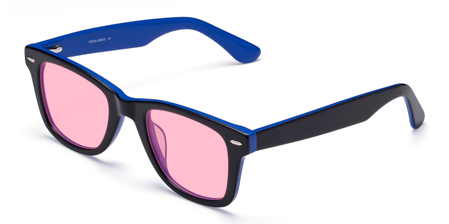 Angle of Rocky in Black-Blue with Medium Pink Tinted Lenses