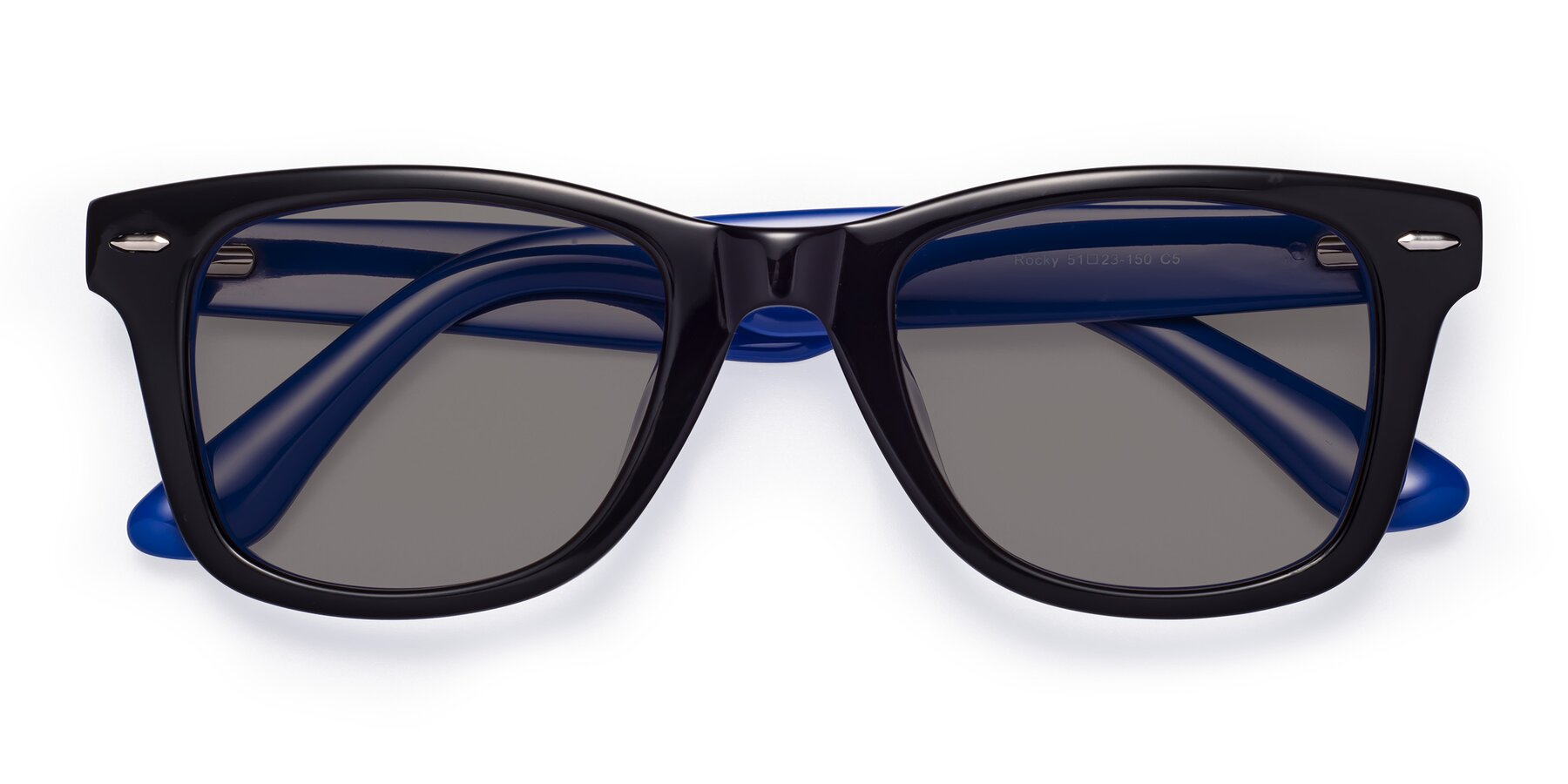Folded Front of Rocky in Black-Blue with Medium Gray Tinted Lenses