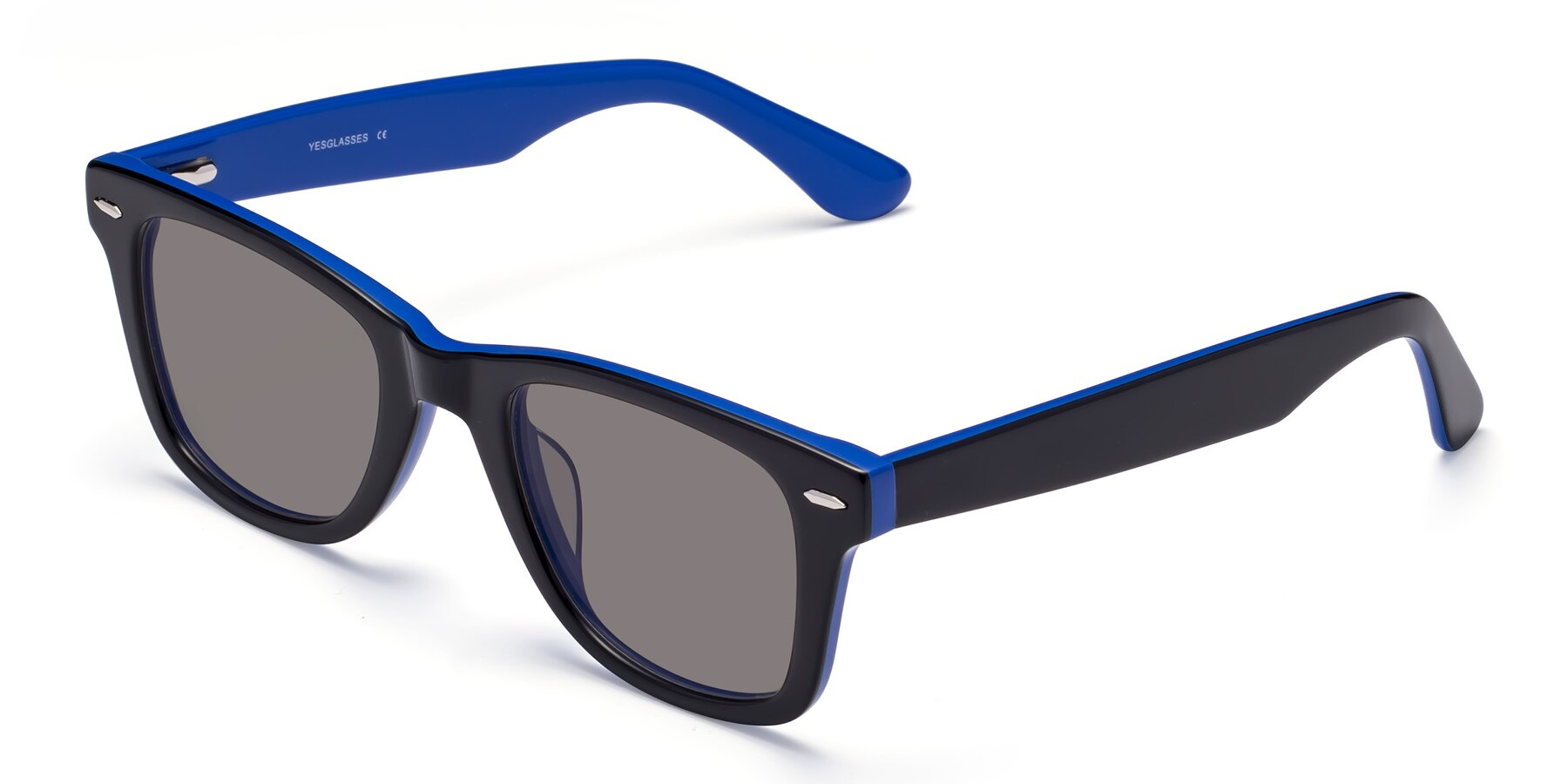 Angle of Rocky in Black-Blue with Medium Gray Tinted Lenses