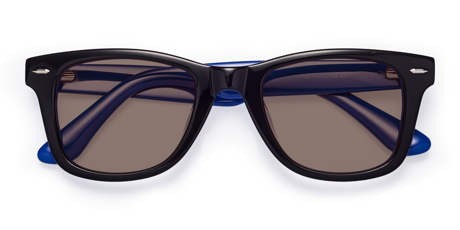 Folded Front of Rocky in Black-Blue with Medium Brown Tinted Lenses