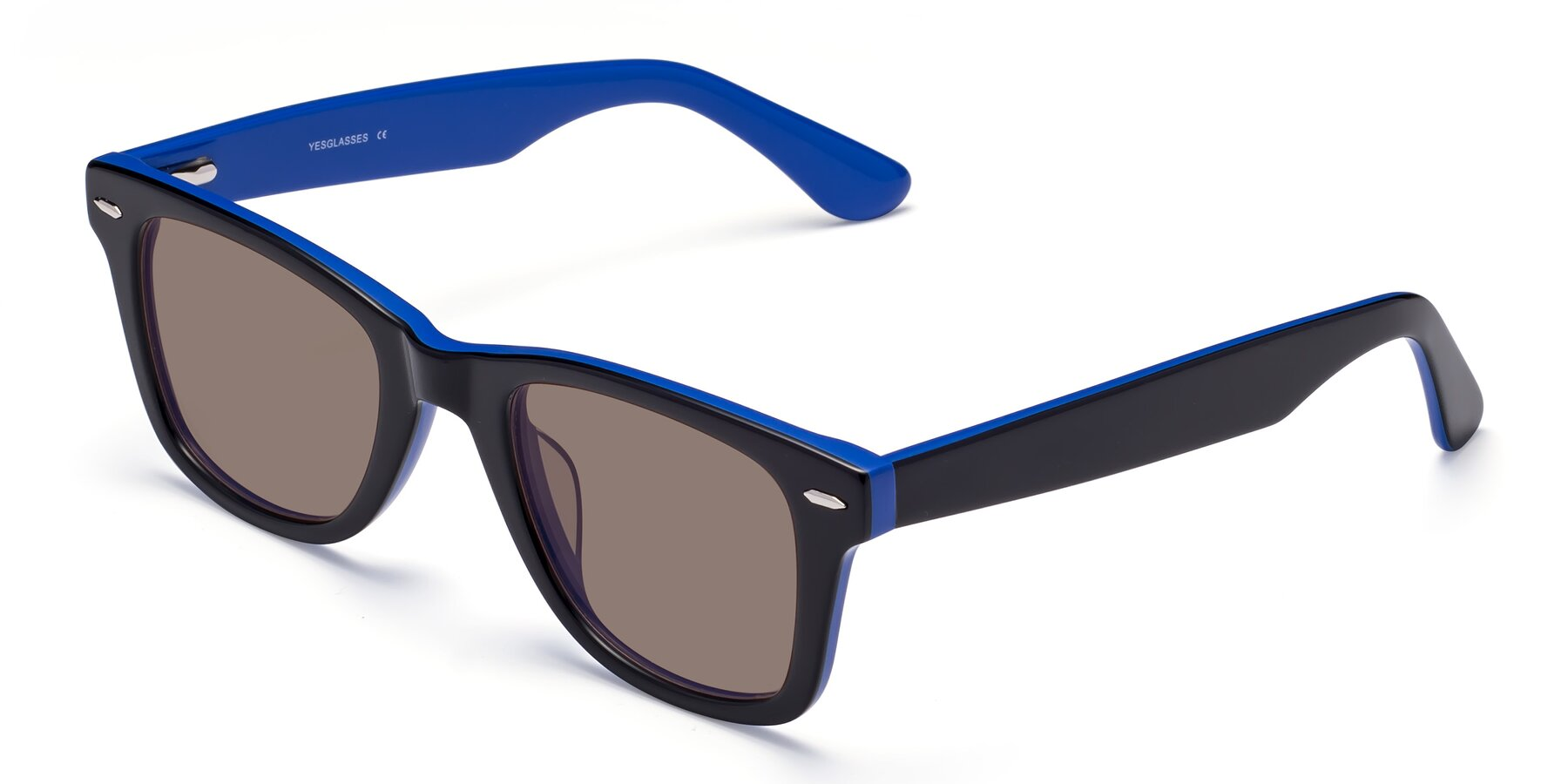 Angle of Rocky in Black-Blue with Medium Brown Tinted Lenses