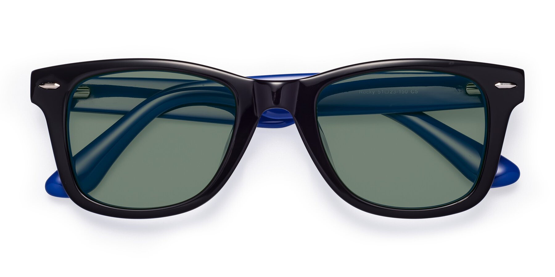 Folded Front of Rocky in Black-Blue with Medium Green Tinted Lenses