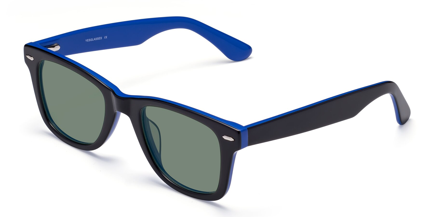 Angle of Rocky in Black-Blue with Medium Green Tinted Lenses