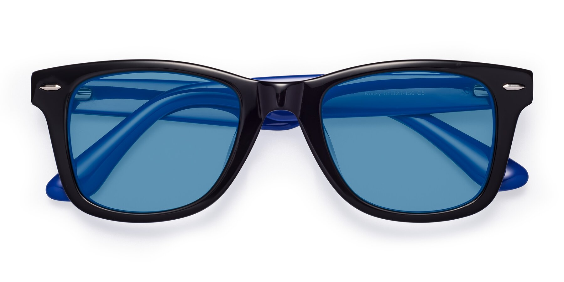 Folded Front of Rocky in Black-Blue with Medium Blue Tinted Lenses