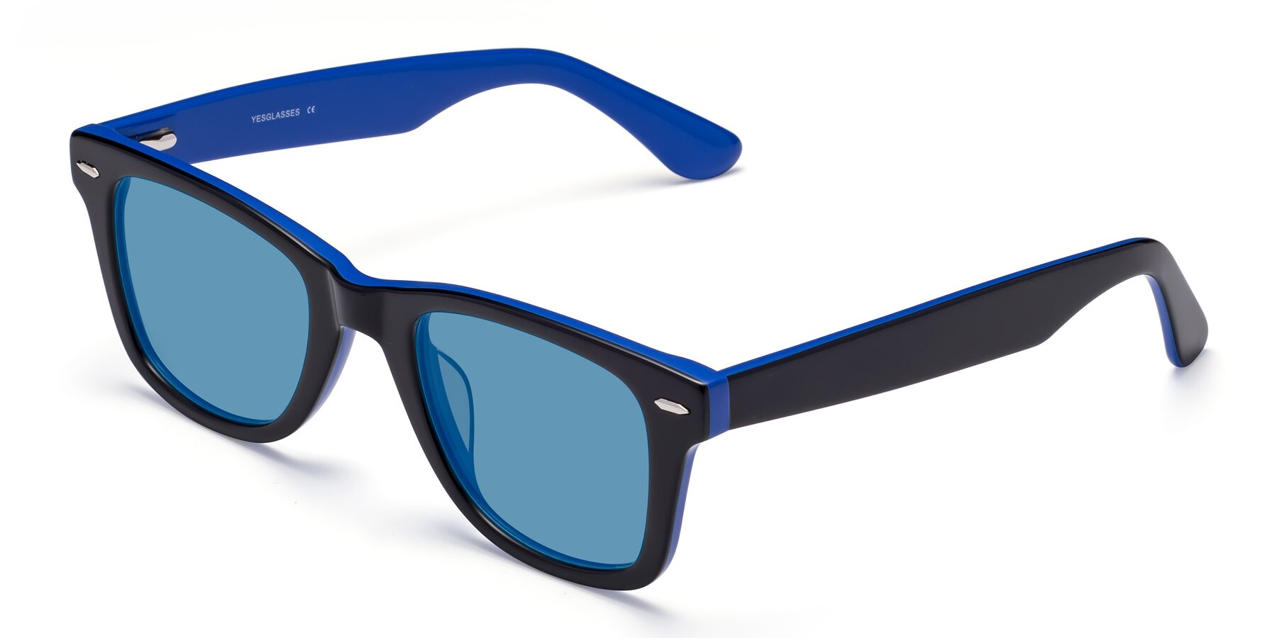 Angle of Rocky in Black-Blue with Medium Blue Tinted Lenses