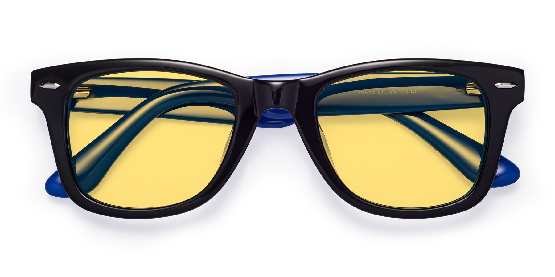 Folded Front of Rocky in Black-Blue with Medium Yellow Tinted Lenses