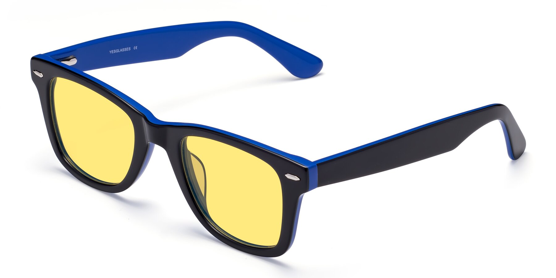 Angle of Rocky in Black-Blue with Medium Yellow Tinted Lenses