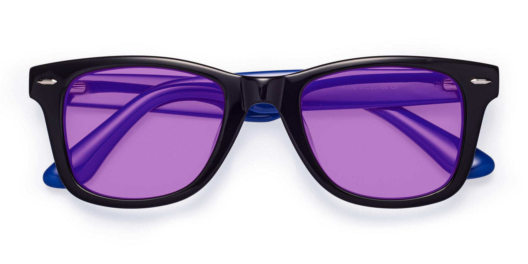 Folded Front of Rocky in Black-Blue with Medium Purple Tinted Lenses