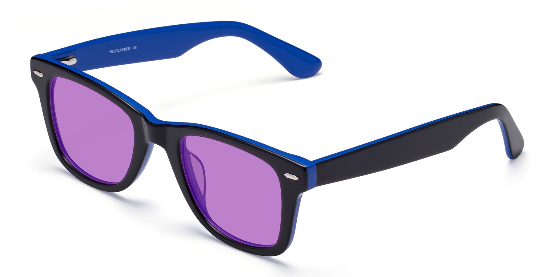 Angle of Rocky in Black-Blue with Medium Purple Tinted Lenses