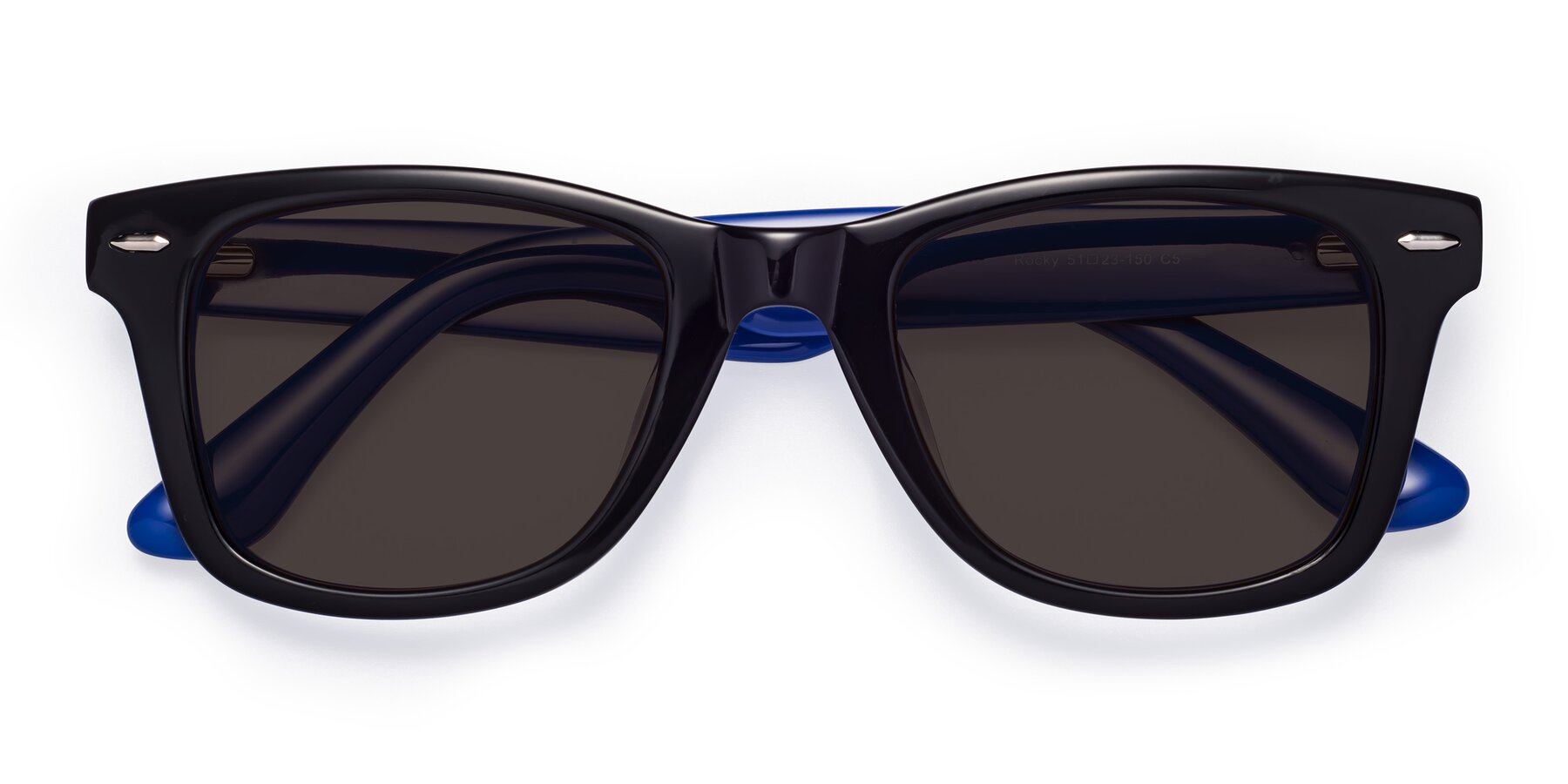 Folded Front of Rocky in Black-Blue with Gray Tinted Lenses