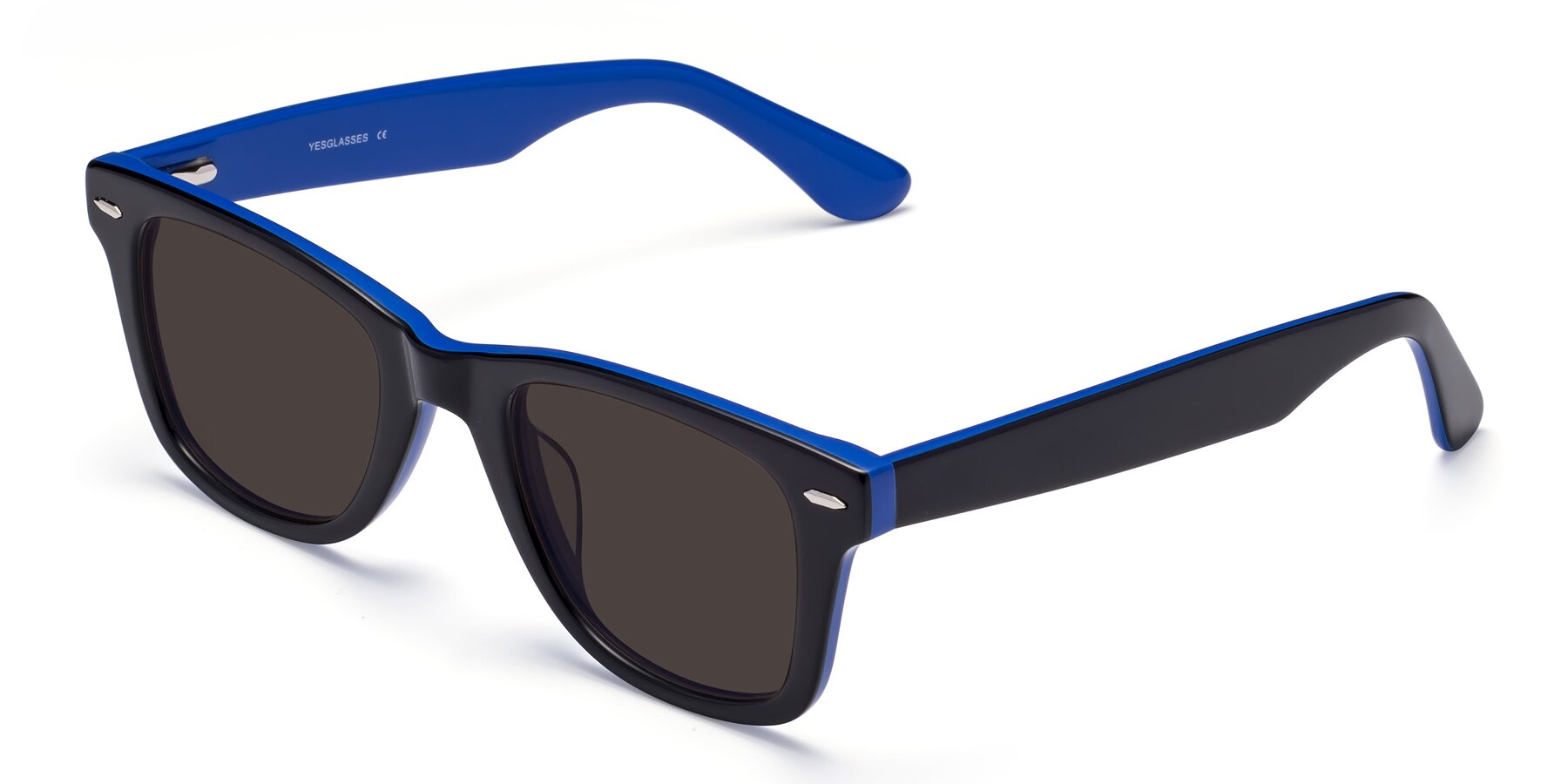 Angle of Rocky in Black-Blue with Gray Tinted Lenses