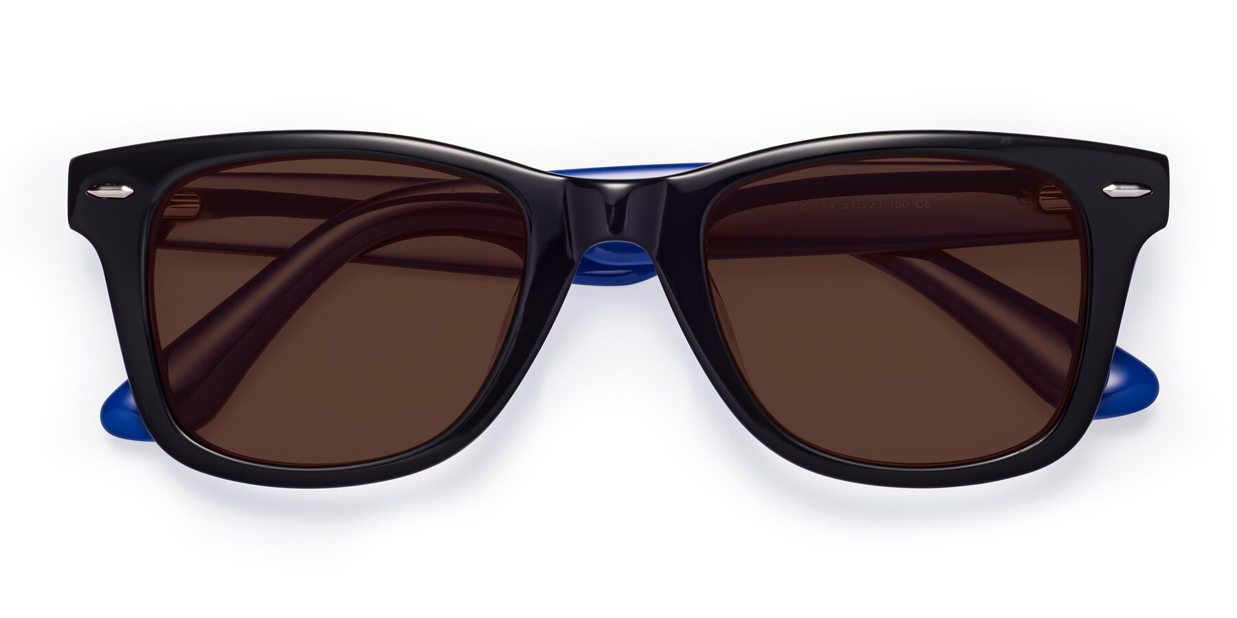 Folded Front of Rocky in Black-Blue with Brown Tinted Lenses