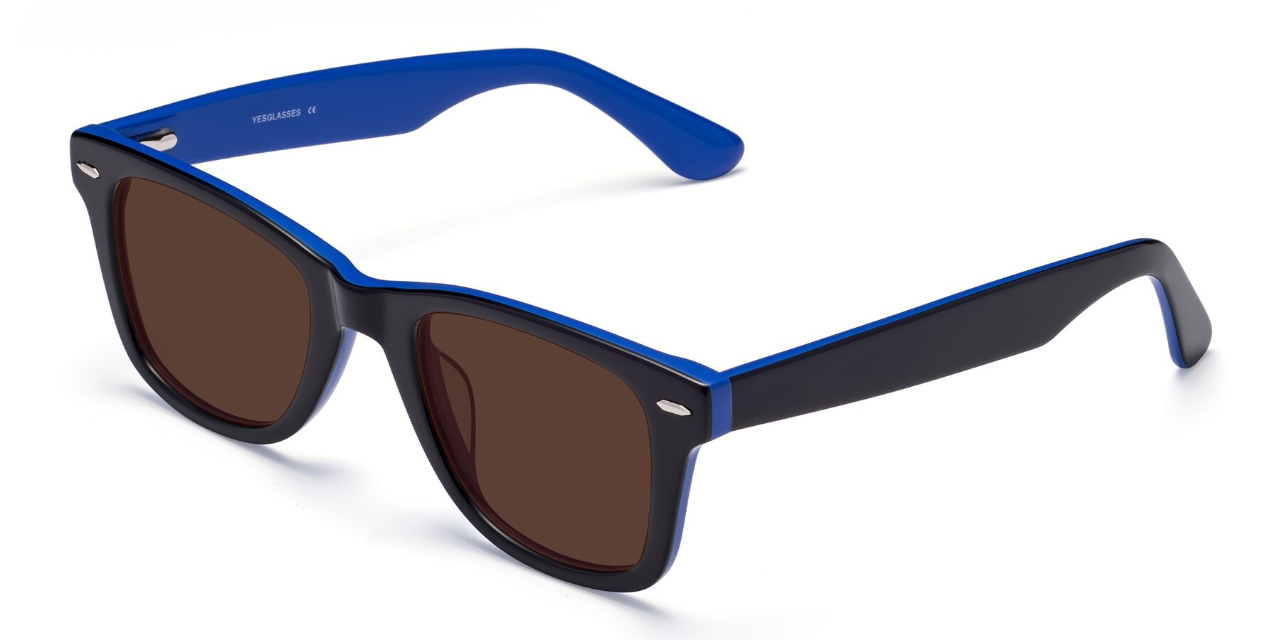Angle of Rocky in Black-Blue with Brown Tinted Lenses