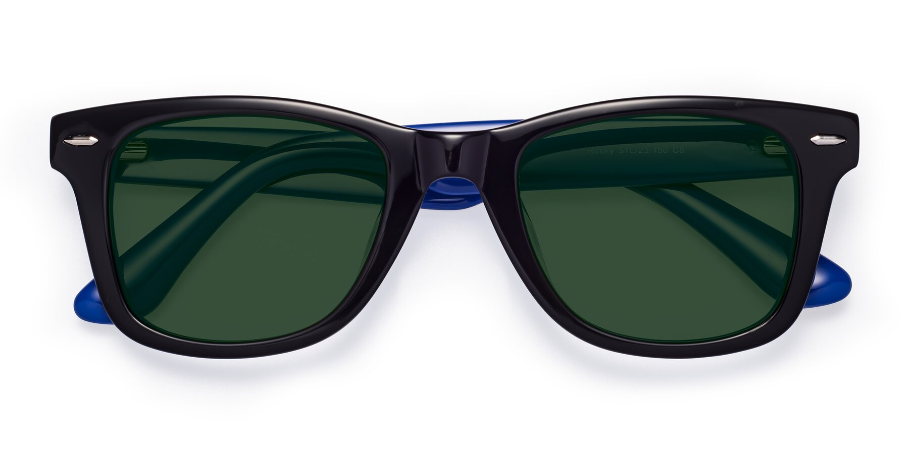 Folded Front of Rocky in Black-Blue with Green Tinted Lenses