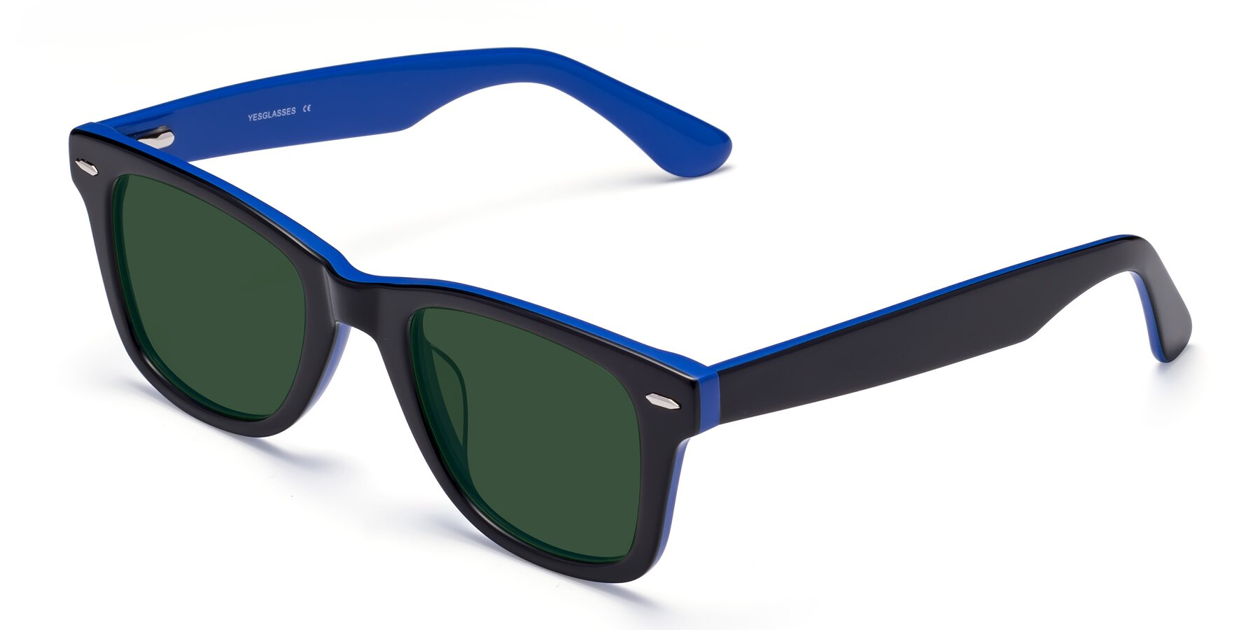 Angle of Rocky in Black-Blue with Green Tinted Lenses