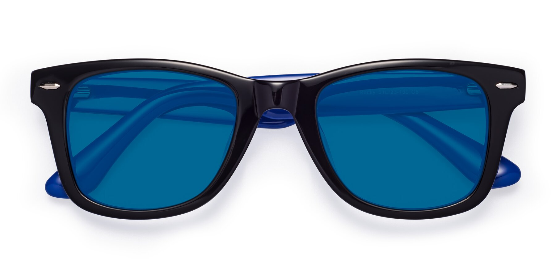 Folded Front of Rocky in Black-Blue with Blue Tinted Lenses