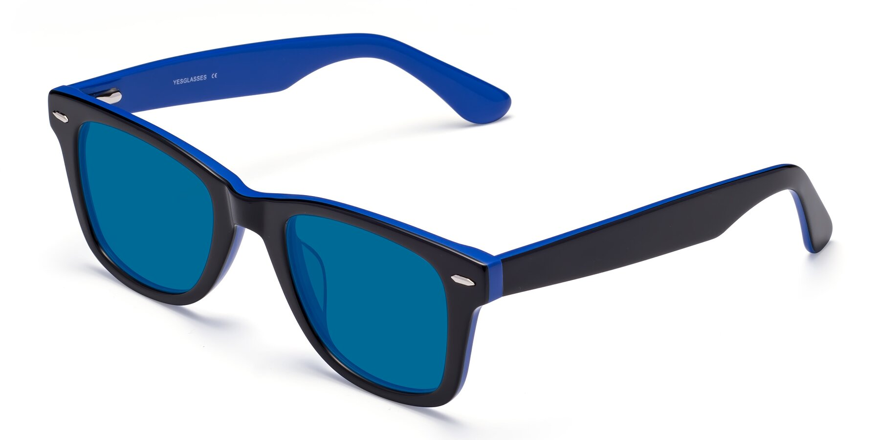 Angle of Rocky in Black-Blue with Blue Tinted Lenses
