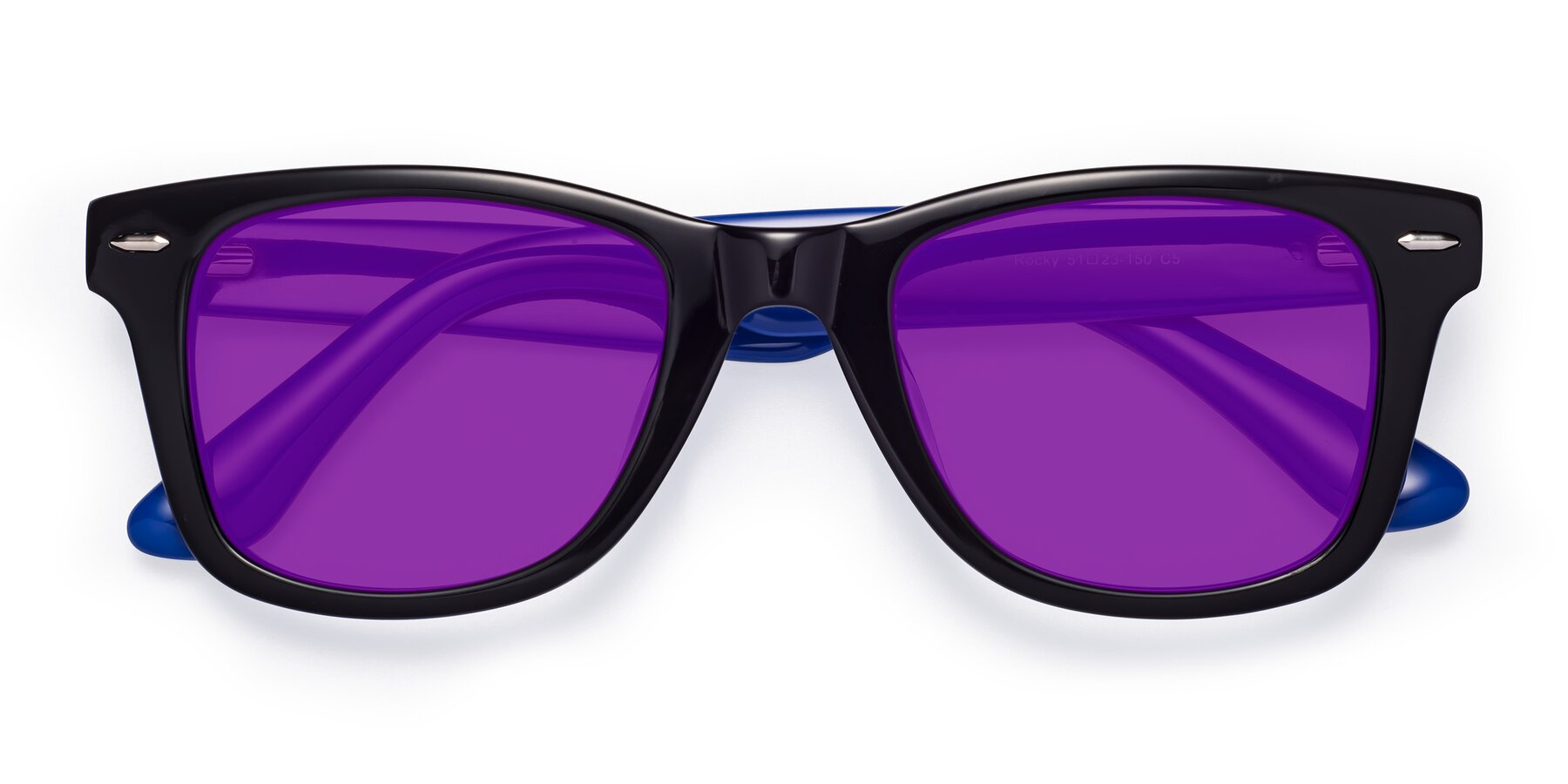Folded Front of Rocky in Black-Blue with Purple Tinted Lenses