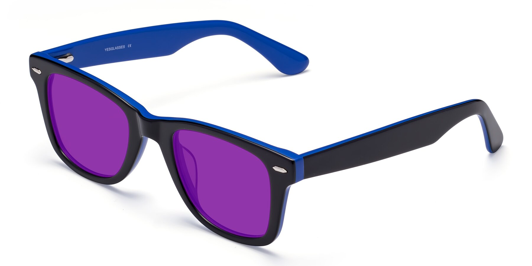 Angle of Rocky in Black-Blue with Purple Tinted Lenses