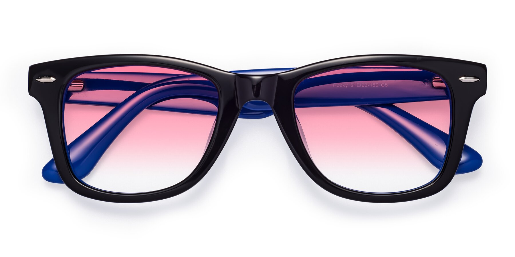 Folded Front of Rocky in Black-Blue with Pink Gradient Lenses
