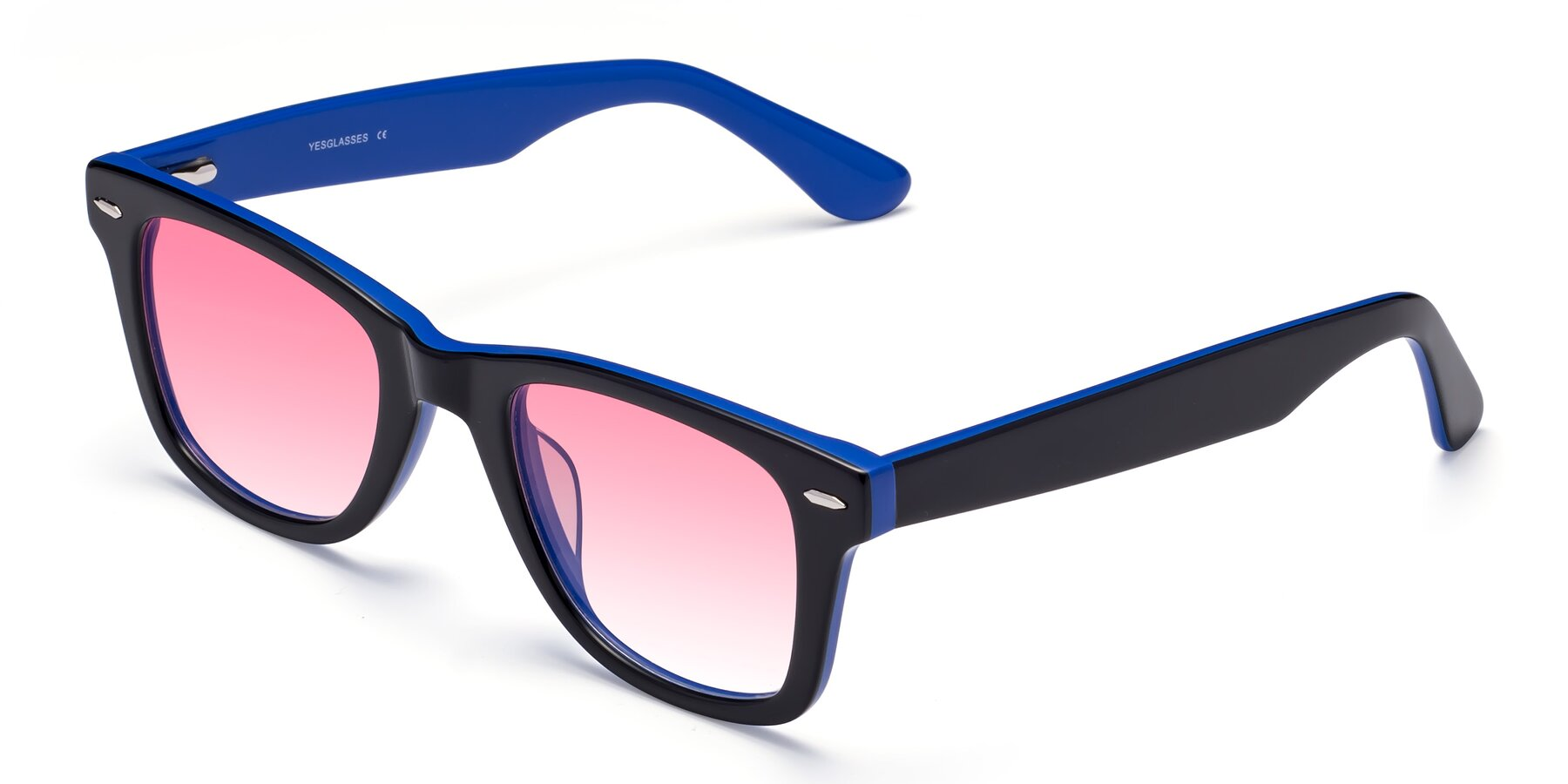 Angle of Rocky in Black-Blue with Pink Gradient Lenses