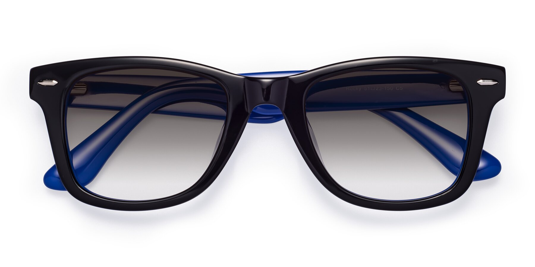 Folded Front of Rocky in Black-Blue with Gray Gradient Lenses