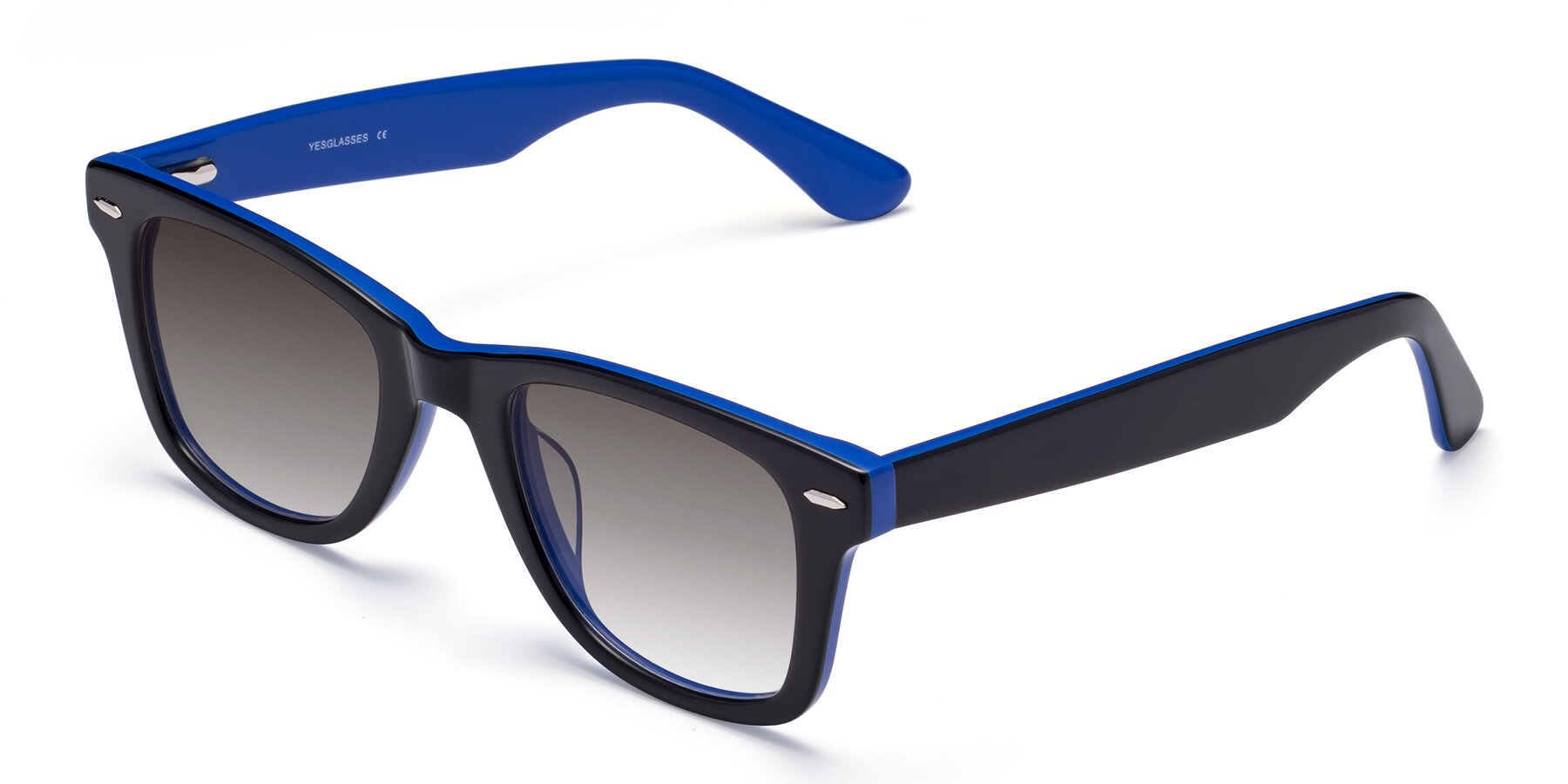 Angle of Rocky in Black-Blue with Gray Gradient Lenses