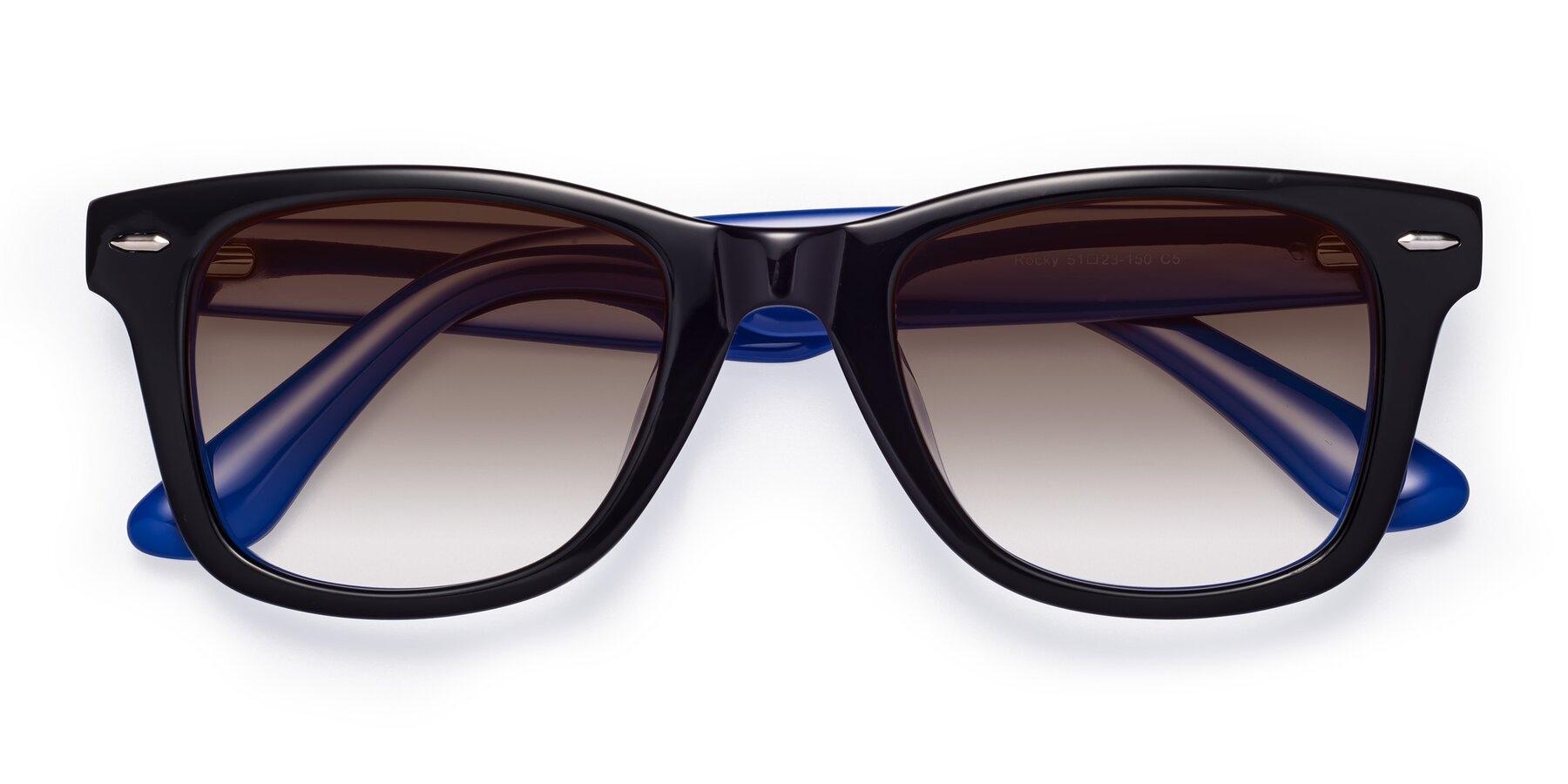 Folded Front of Rocky in Black-Blue with Brown Gradient Lenses