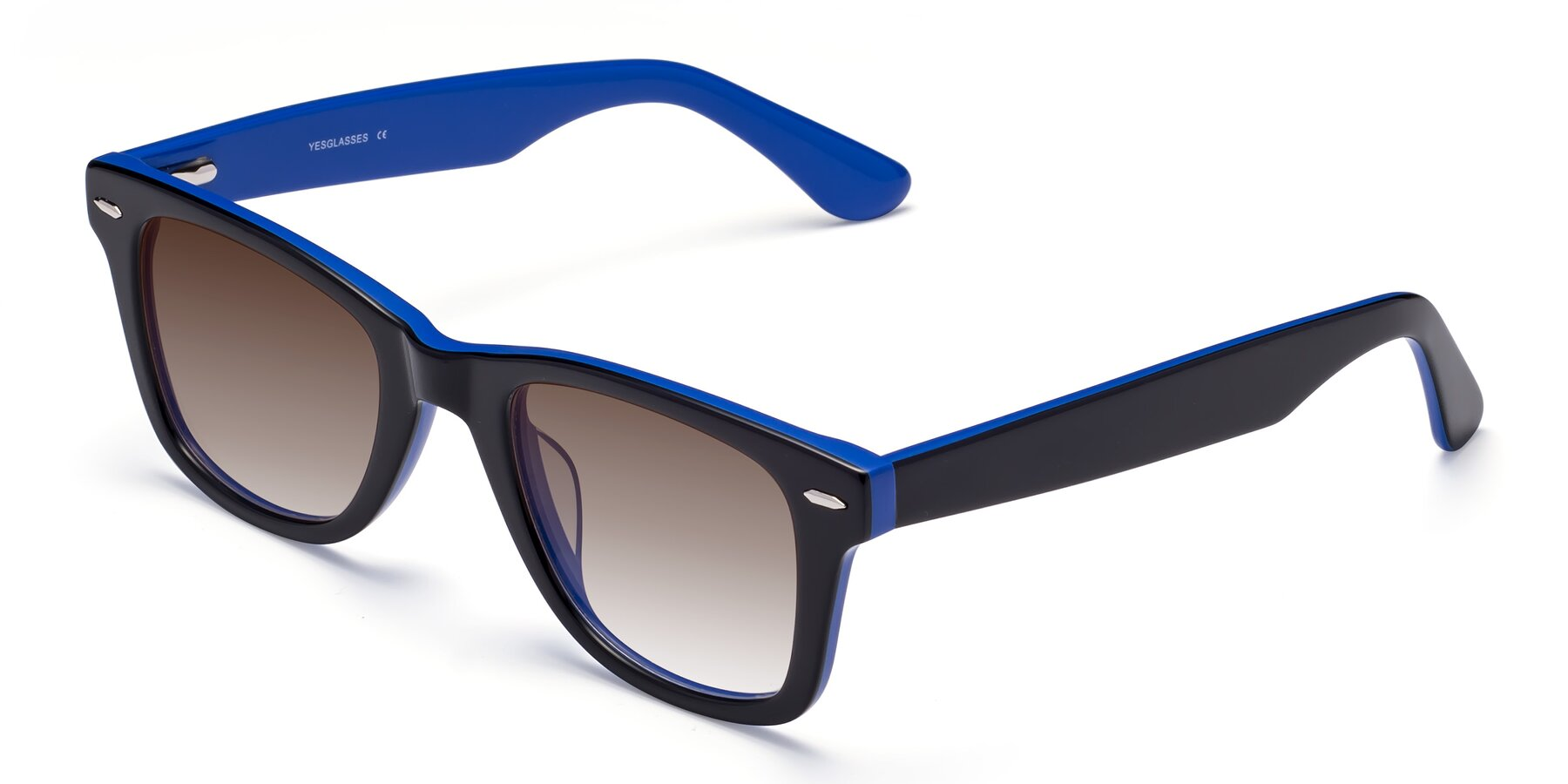 Angle of Rocky in Black-Blue with Brown Gradient Lenses