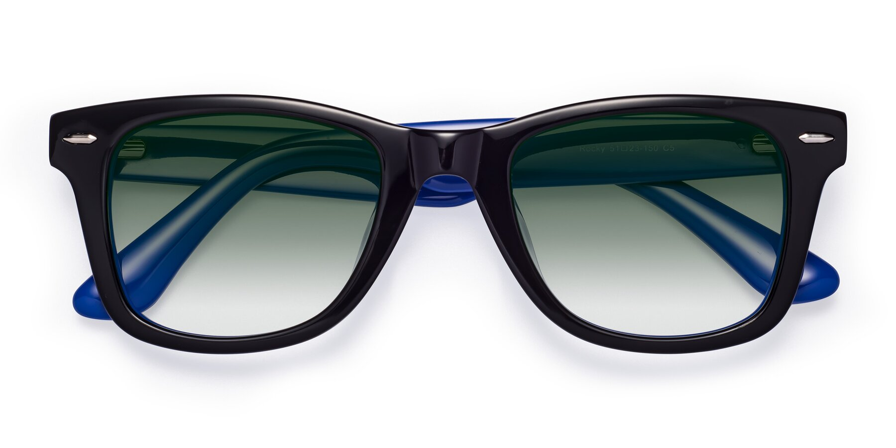 Folded Front of Rocky in Black-Blue with Green Gradient Lenses