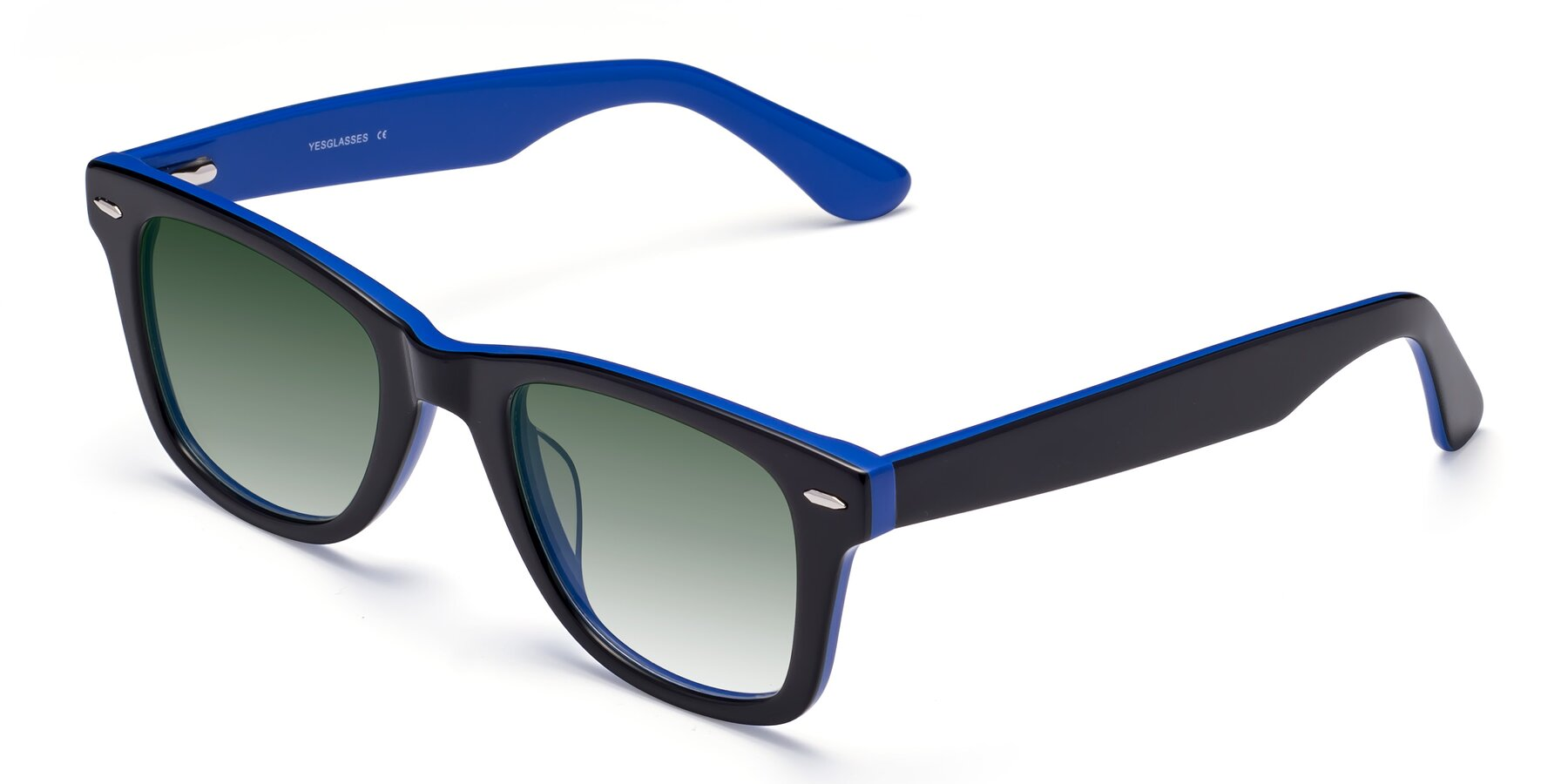 Angle of Rocky in Black-Blue with Green Gradient Lenses