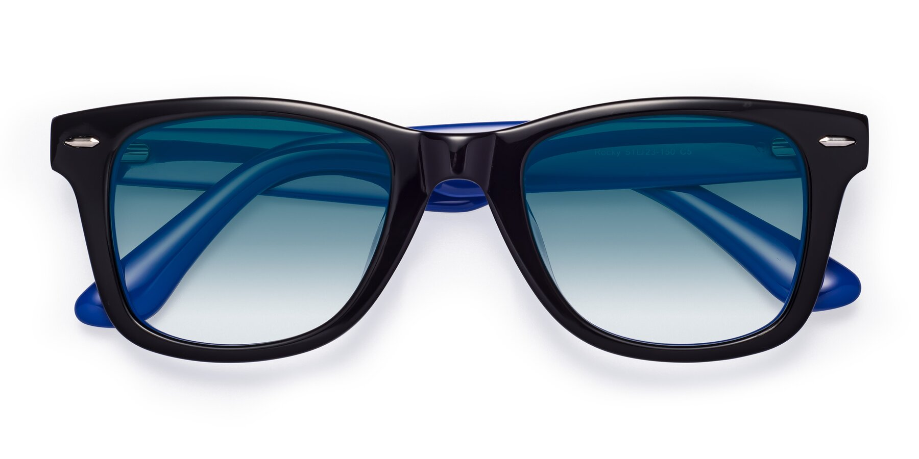 Folded Front of Rocky in Black-Blue with Blue Gradient Lenses