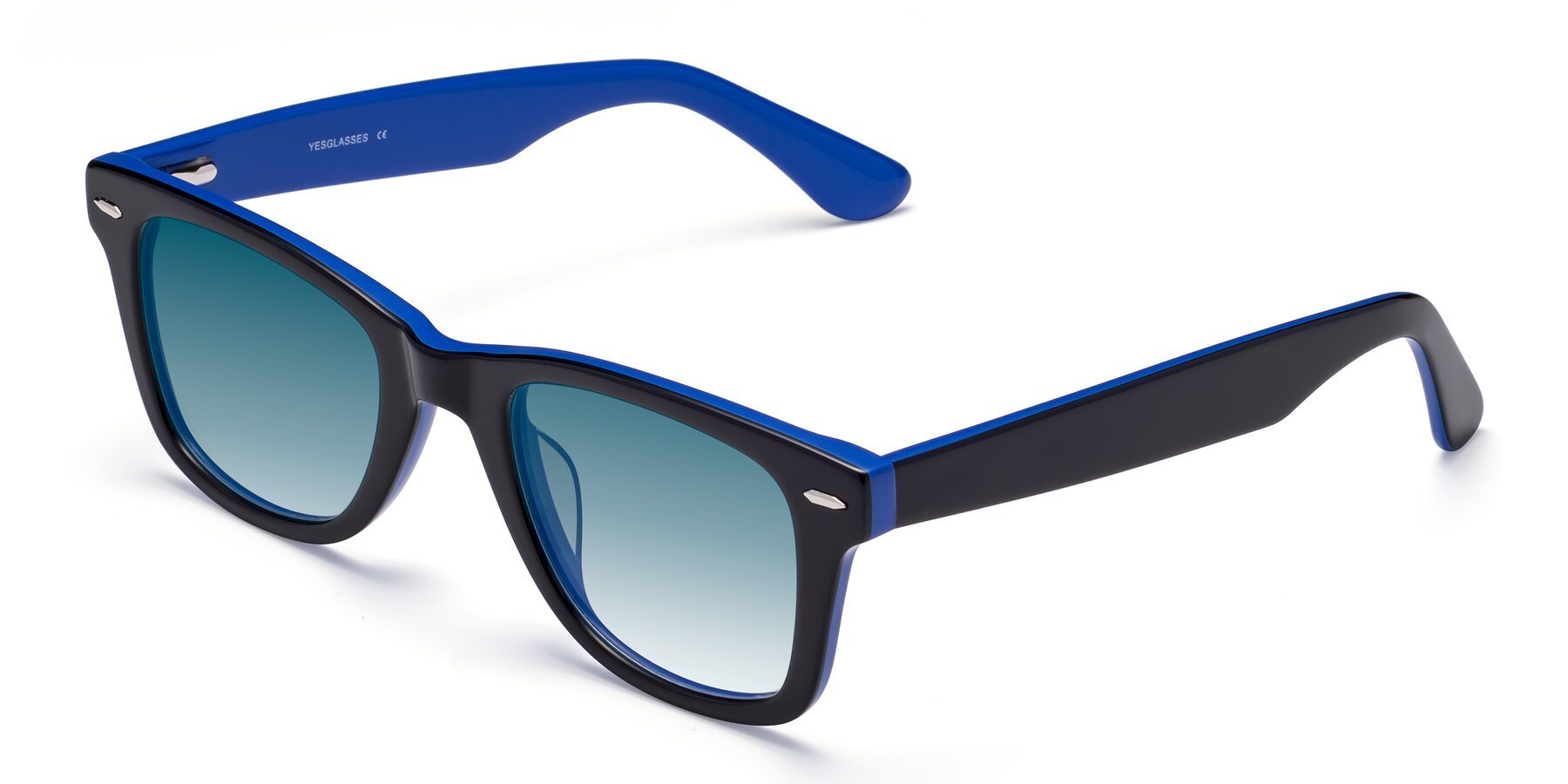 Angle of Rocky in Black-Blue with Blue Gradient Lenses