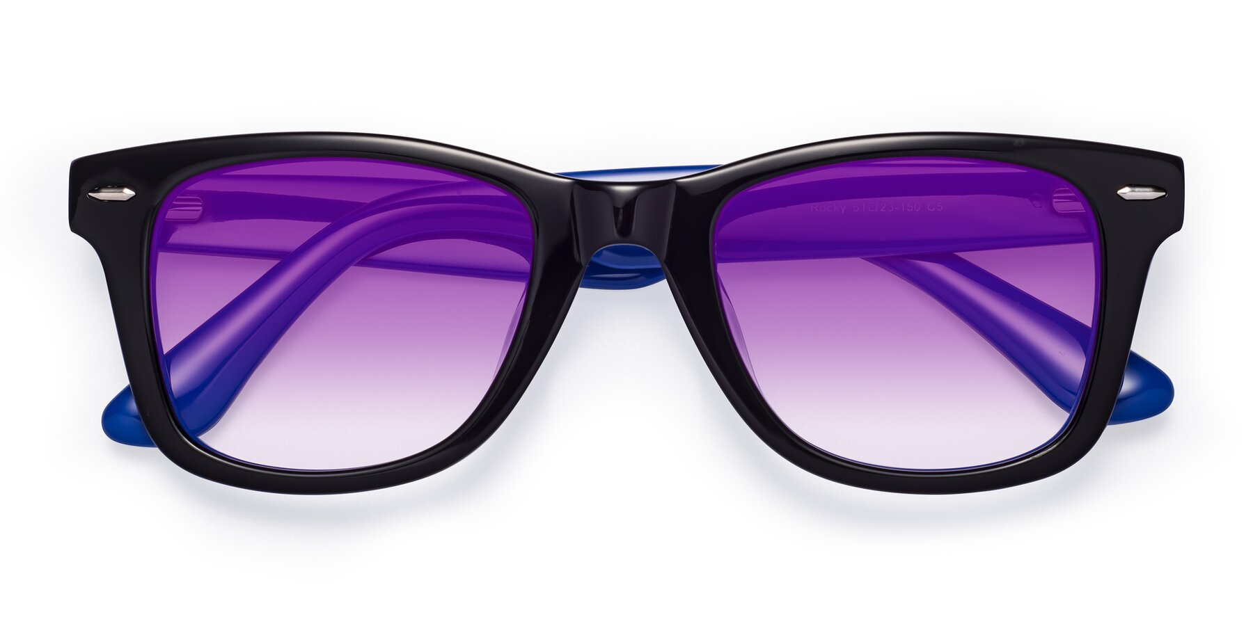 Folded Front of Rocky in Black-Blue with Purple Gradient Lenses