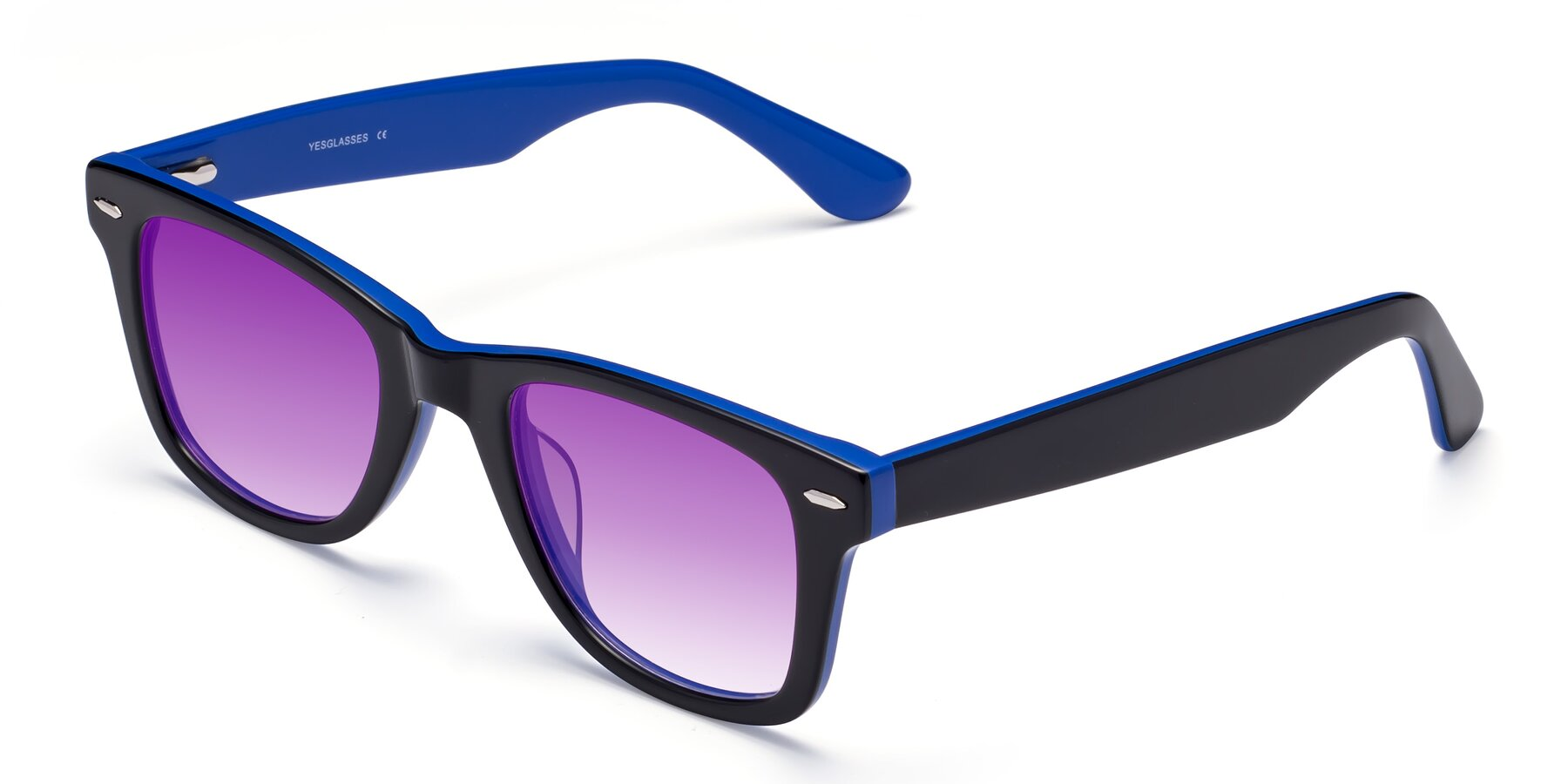 Angle of Rocky in Black-Blue with Purple Gradient Lenses