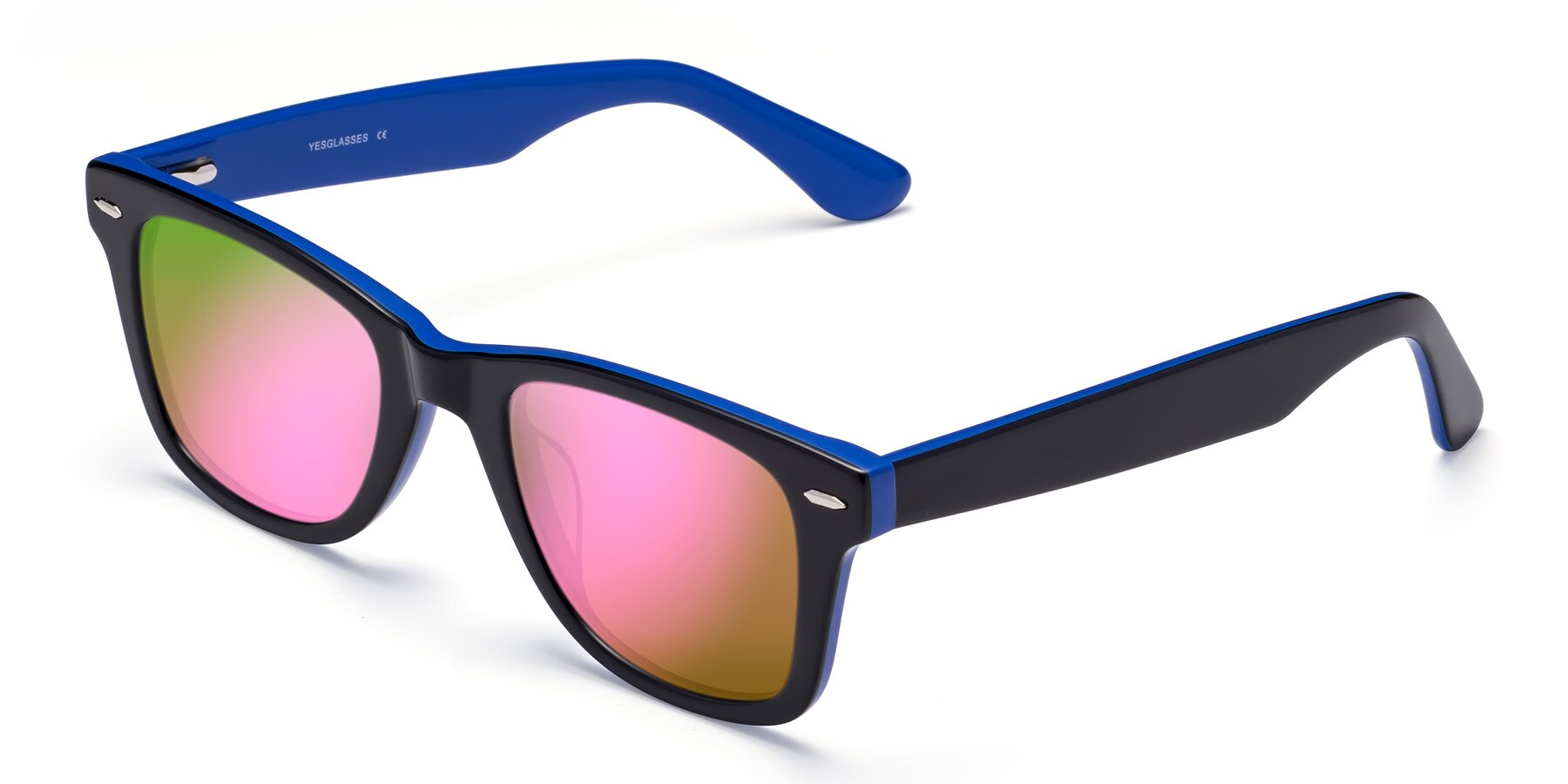 Angle of Rocky in Black-Blue with Pink Mirrored Lenses