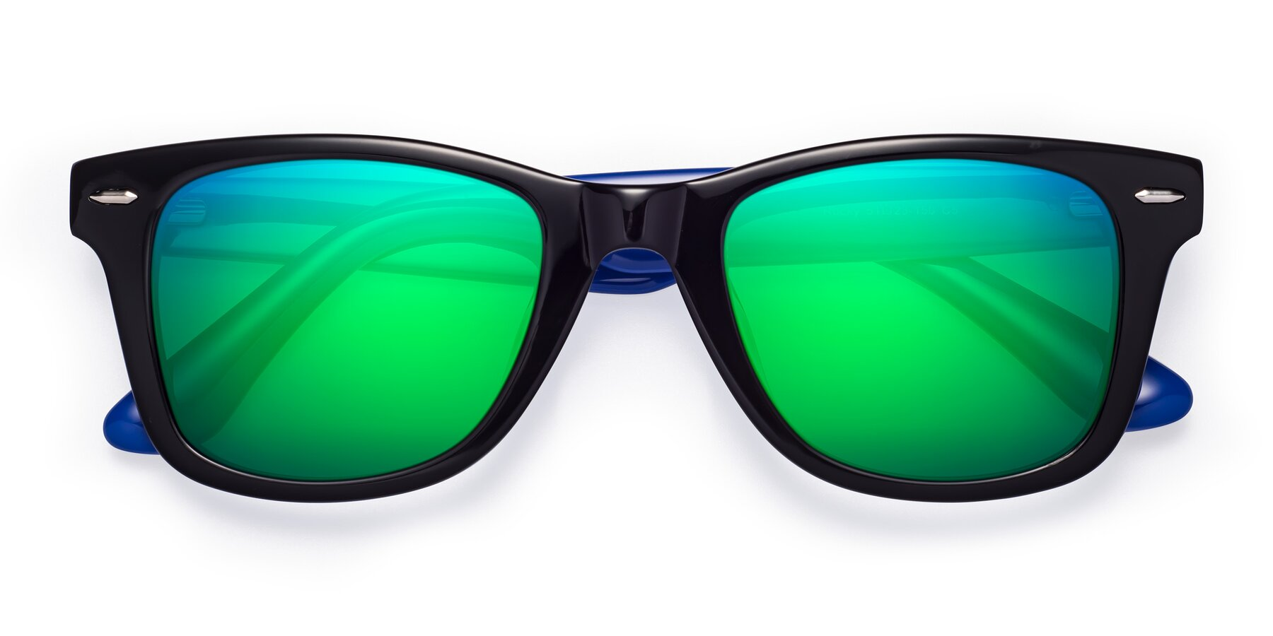 Folded Front of Rocky in Black-Blue with Green Mirrored Lenses