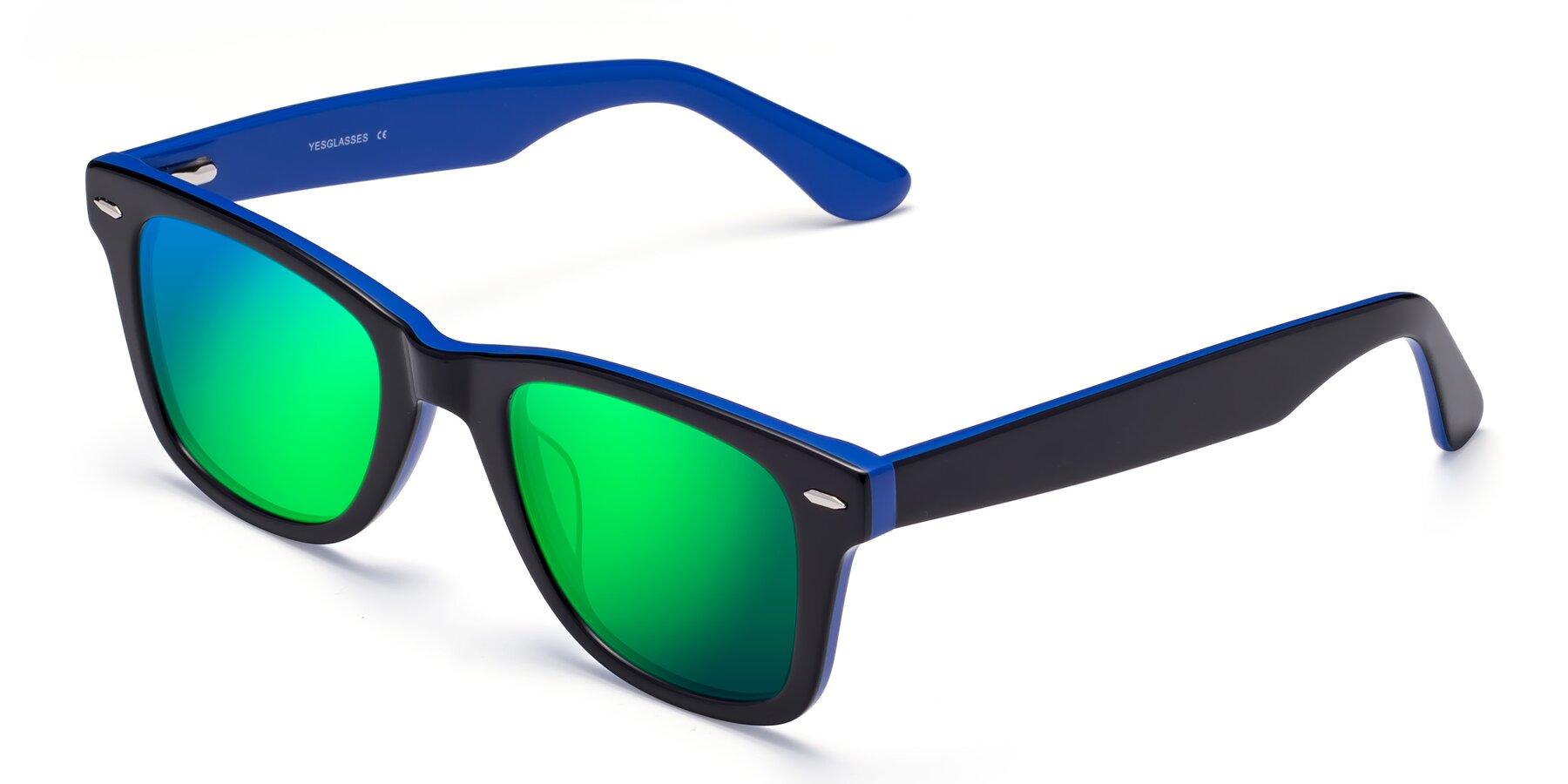 Angle of Rocky in Black-Blue with Green Mirrored Lenses