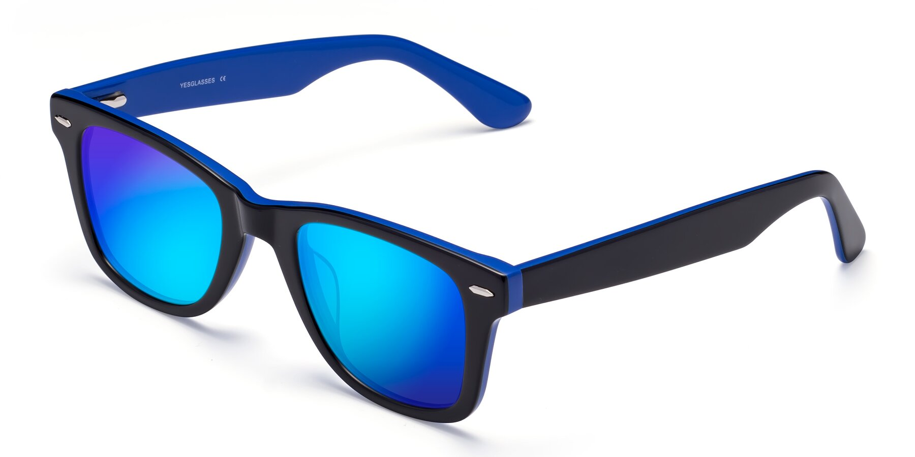 Angle of Rocky in Black-Blue with Blue Mirrored Lenses