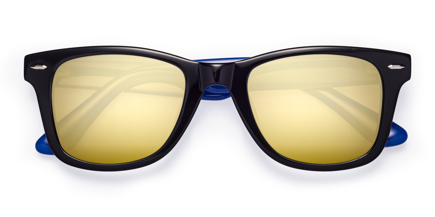 Folded Front of Rocky in Black-Blue with Gold Mirrored Lenses