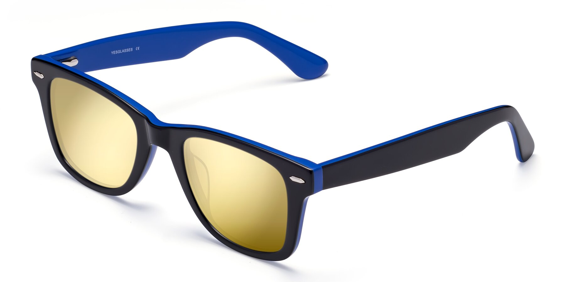 Angle of Rocky in Black-Blue with Gold Mirrored Lenses