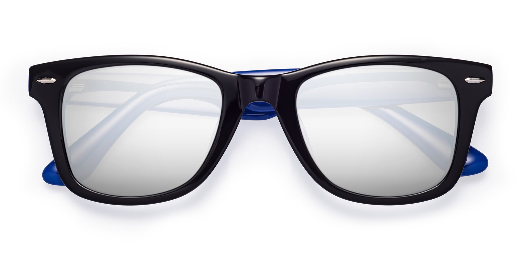 Folded Front of Rocky in Black-Blue with Silver Mirrored Lenses