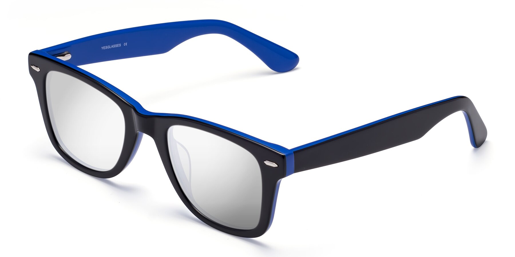 Angle of Rocky in Black-Blue with Silver Mirrored Lenses